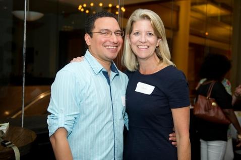 2014 - Steppingstone's President, Kelly Glew, with Alumnus José Vega '95