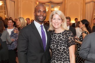 Event emcee Senam Kumahia '96 with Steppingstone President Kelly Glew.