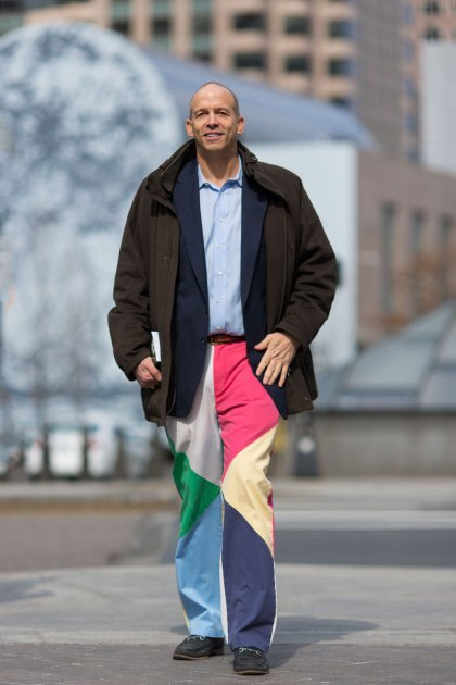 "Mike shows off his famous sense of style: ""These are my spring pants. The winter is over, baby!"" http://portraits-of-america.com/post/80698461861/these-are-my-spring-pants-the-winter-is-over"